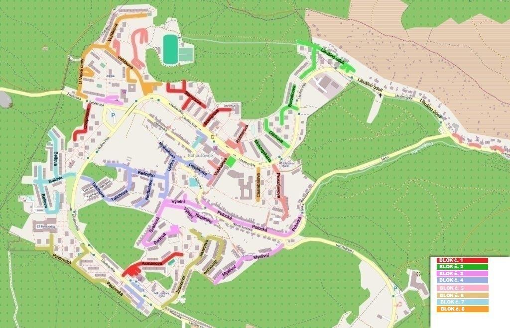 Brno-Kohoutovice-blokové čištění 2015 - mapka