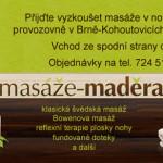 Nová provozovna masáží v Kohoutovicích – masáže Maděra