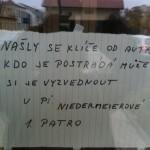 Ztráty a nálezy: Klíče od auta (ul. Vaňhalova)