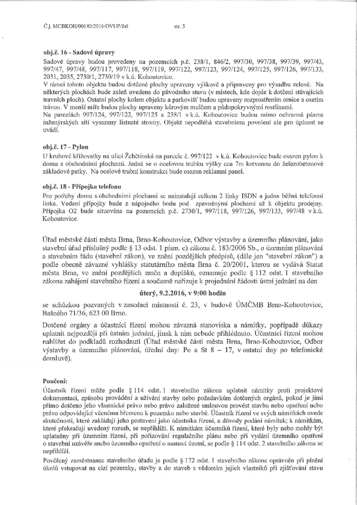 Zahájení stavebního řízení a pozvání k ...ům a dům s obchodními plochami_5