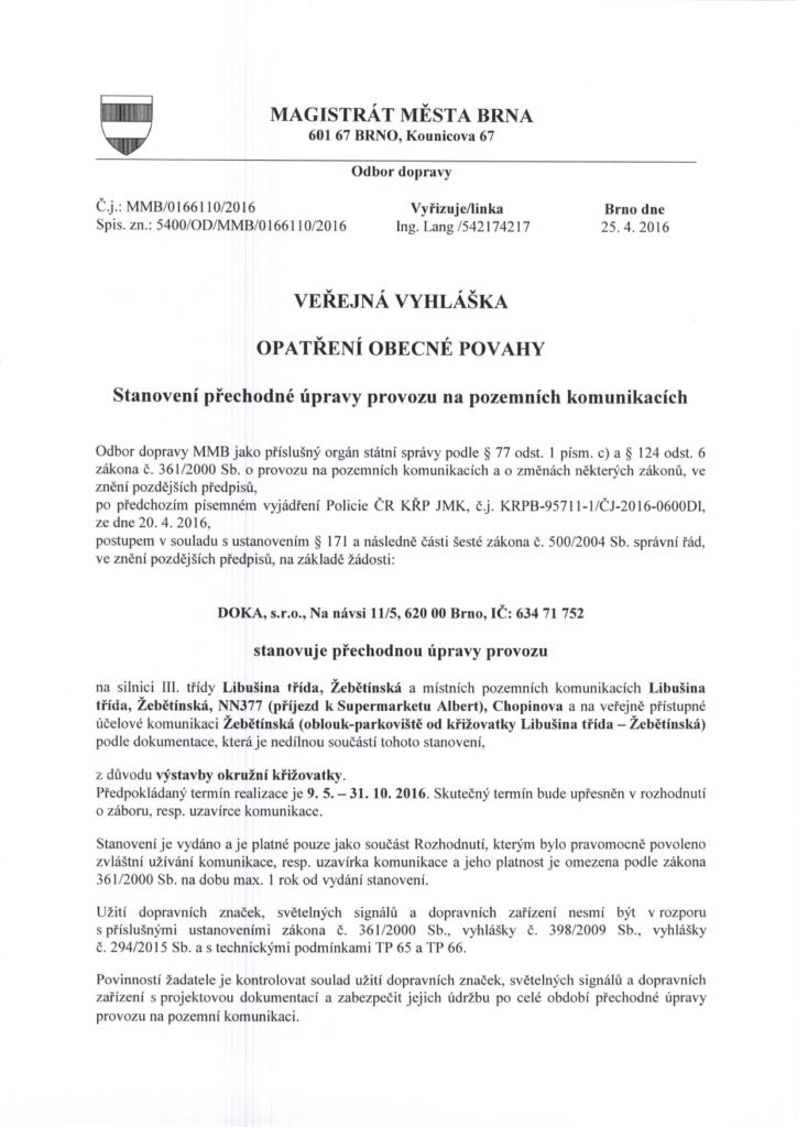 Veřejná vyhláška-2-OKO-brno-kohoutovice-mojekohoutovice-dopravní-situace-LIDL-