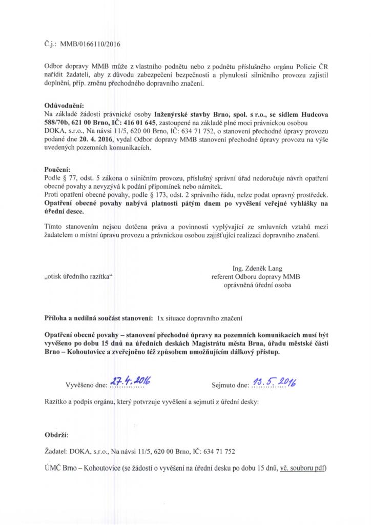 Veřejná vyhláška-2-OKO-brno-kohoutovice-mojekohoutovice-dopravní-situace-LIDL-2