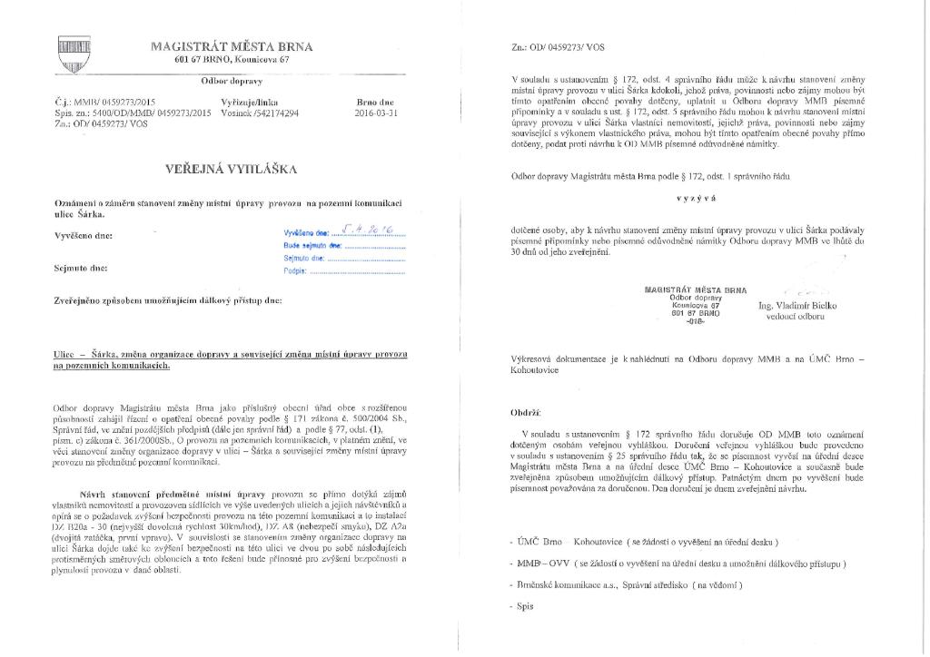 Veřejná vyhláška - oznámení o záměru st...zu na pozemní komunikace ul. Šárka-brno-kohoutovice-mojekohoutovice-0