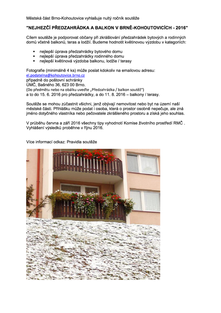 Nejhezčí předzahrádka a balkon v Brně-Kohoutovicích 2016-brno-kohoutovice-mojekohoutovice