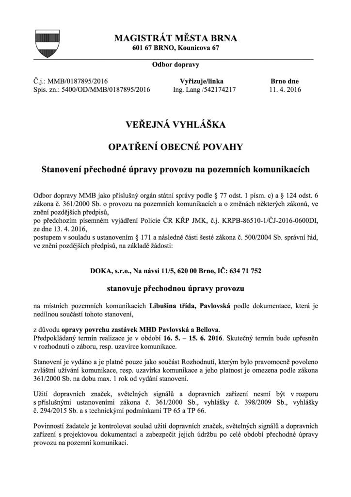 Veřejná vyhláška DOKA_Libusina_trida-bellova-Pavlovská-zastávka-doprava-brno-kohoutovice-mojekohoutovice