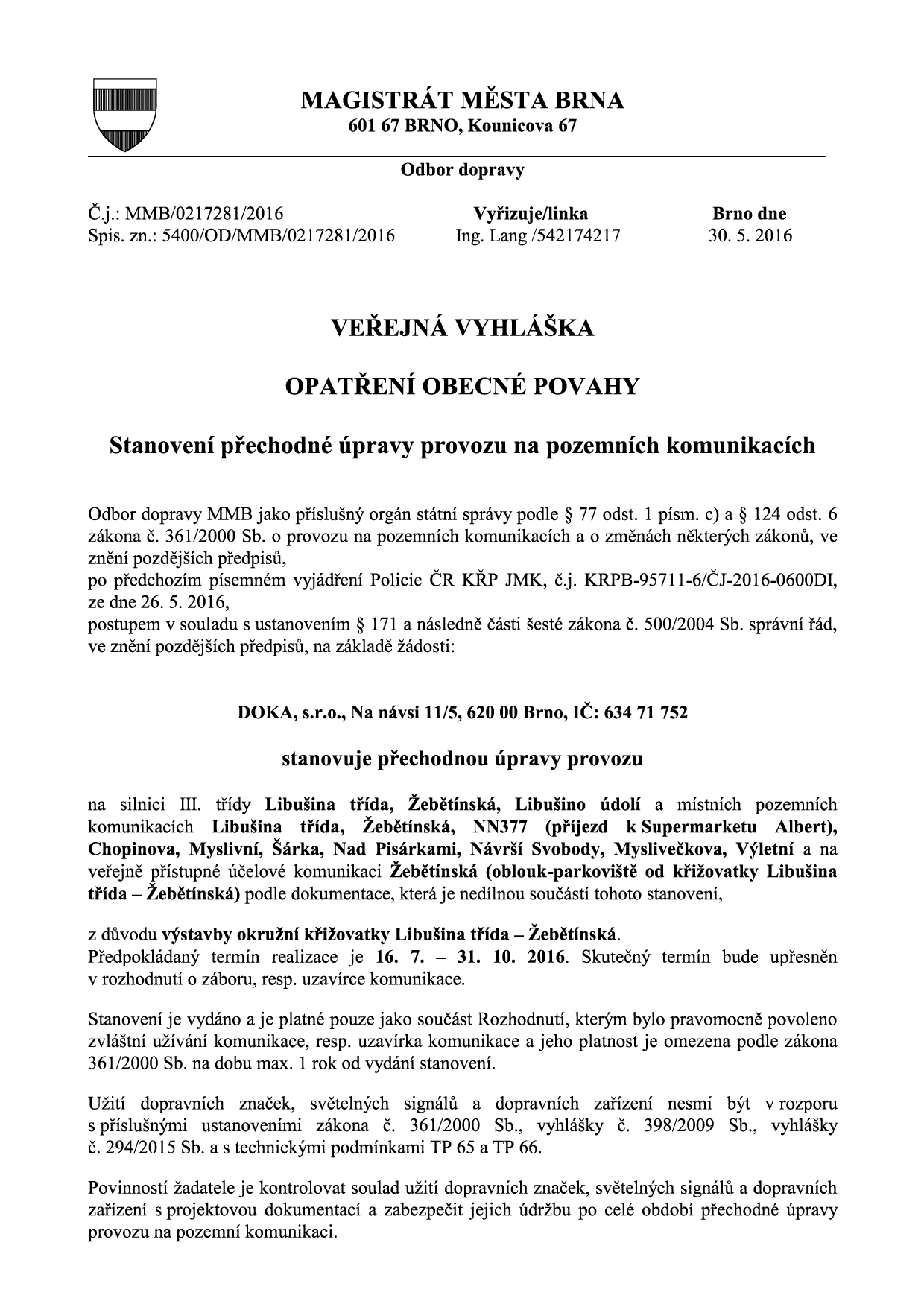 Veřejná vyhláška_DOKA_Libusina_trida_Zebetinska-oko-doprava-brno-kohouotovice-mojekohoutovice