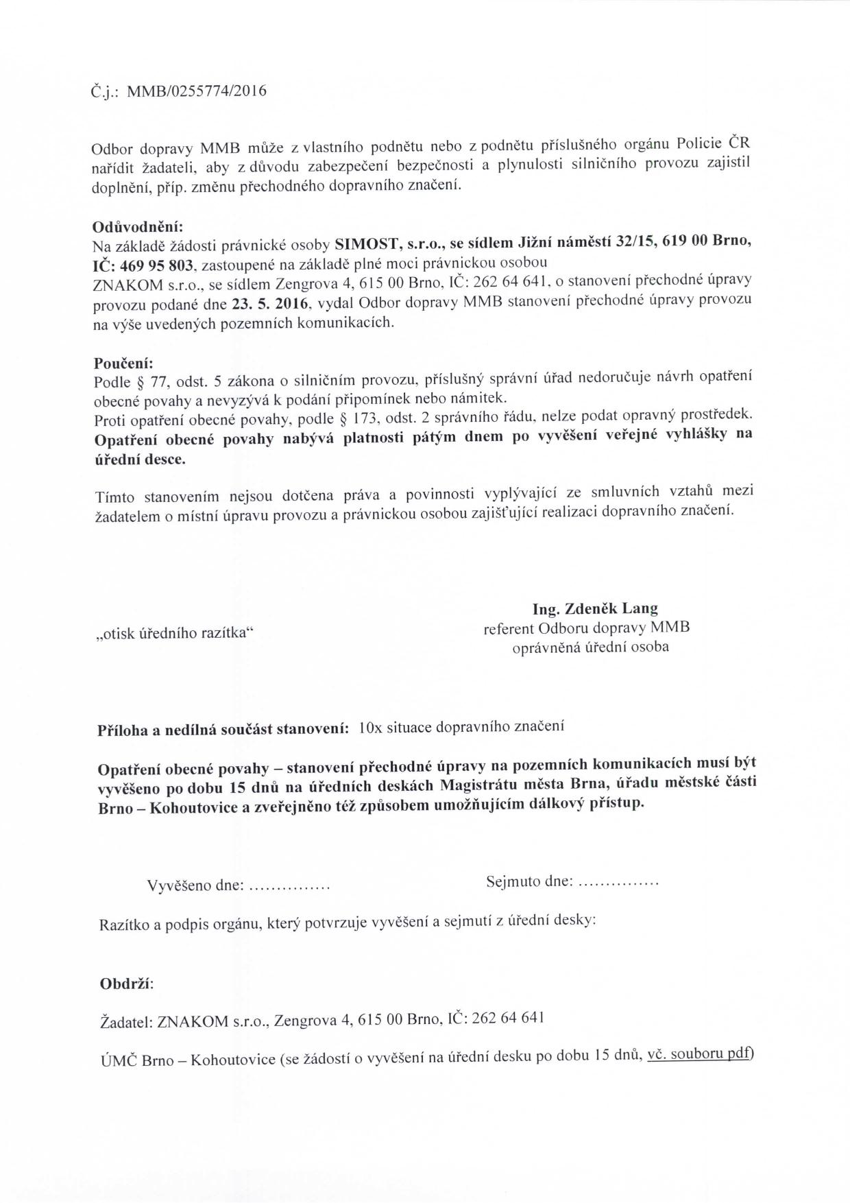 Stanovení přechodné úpravy provozu na komunikacích Jírovcova, Libušina třída, Chironova brno-kohoutovice-mojekohoutovice-02