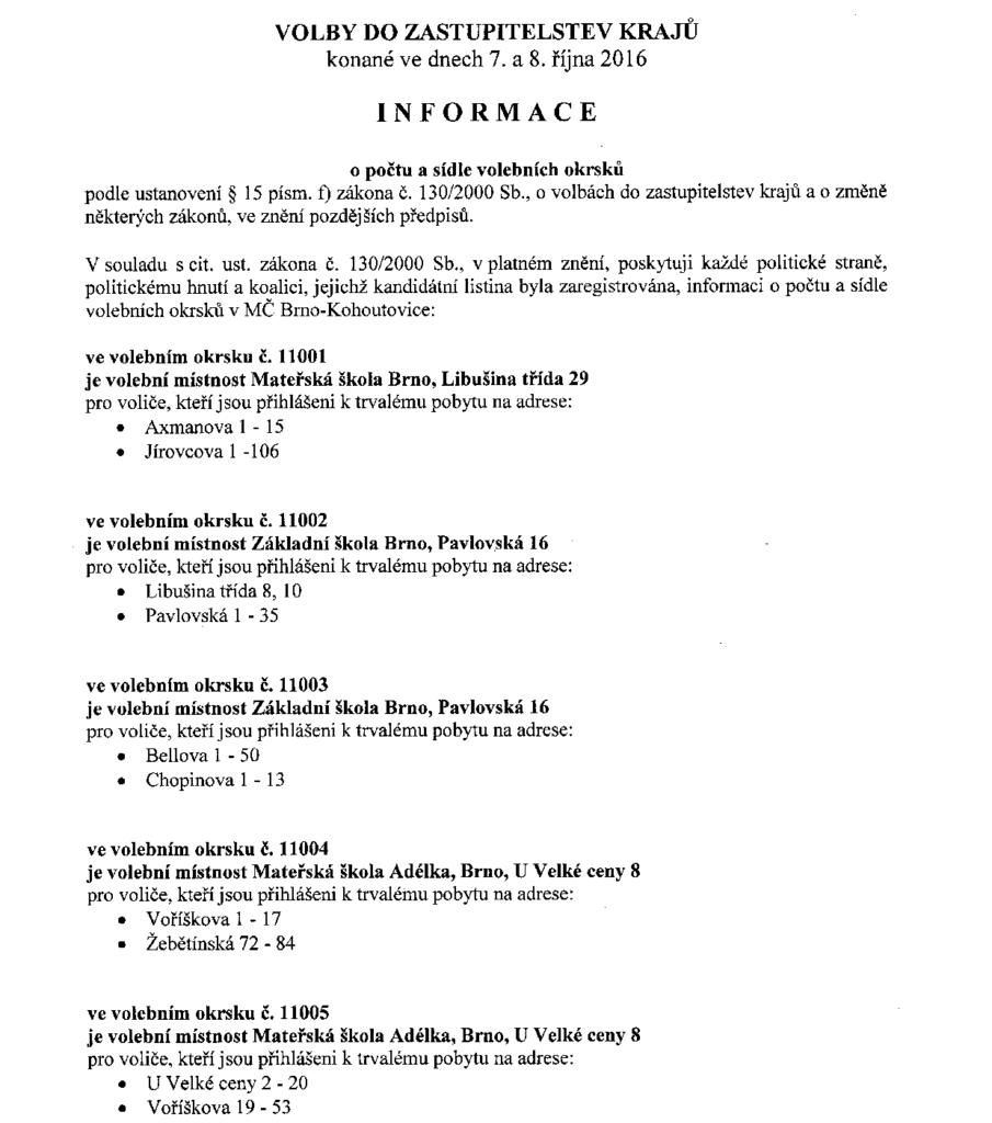 Informace o počtu a sídle volebních okrsků krajské volby 2016 brno-kohoutovice mojekohoutovice-1
