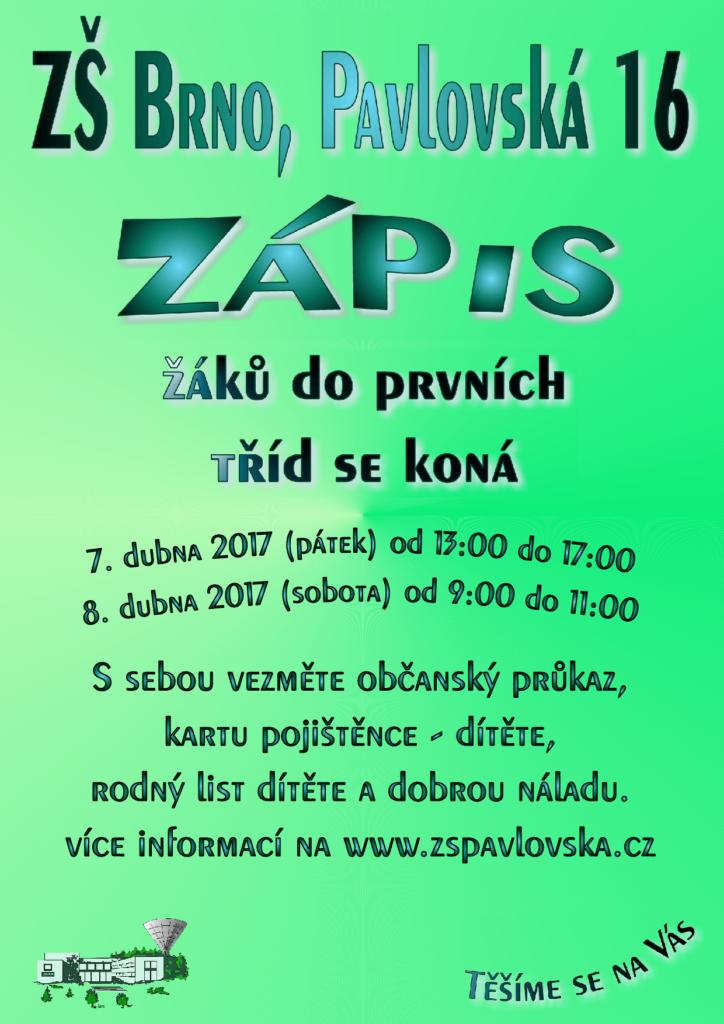 plakát zápis 2017 pavlosvská