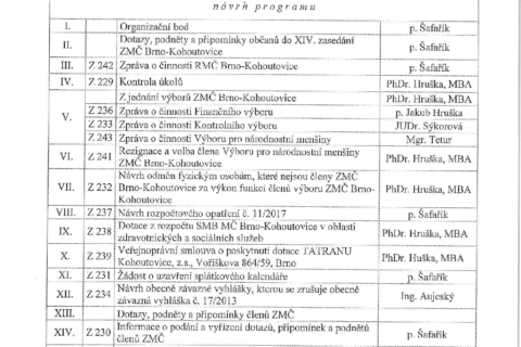 Pozvánka na XIV. zasedání ZMČ dne 28.06.2017
