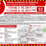 Výluka linky 52 od 7:00 h v sobotu 7. října do 22:00 h v neděli 8. října