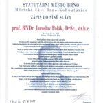 Do síně slávy byl uveden prof. RNDr. Jaroslav Polák, DrSc., dr.h.c.